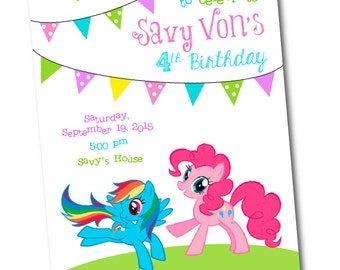 My little Pony Birthday Invitation -PRINTABLE -Rainbow Dash -CUSTOM -Pinkie Pie -Girl Birthday -My Little Pony -Pinkie Pie Invitation -Pony