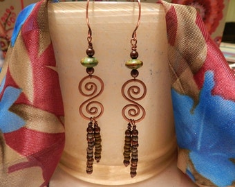 Handmade Wire Wrapped Bead and Copper Earrings