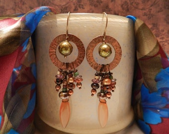 Handmade Semi Precious Stone and Copper Earrings