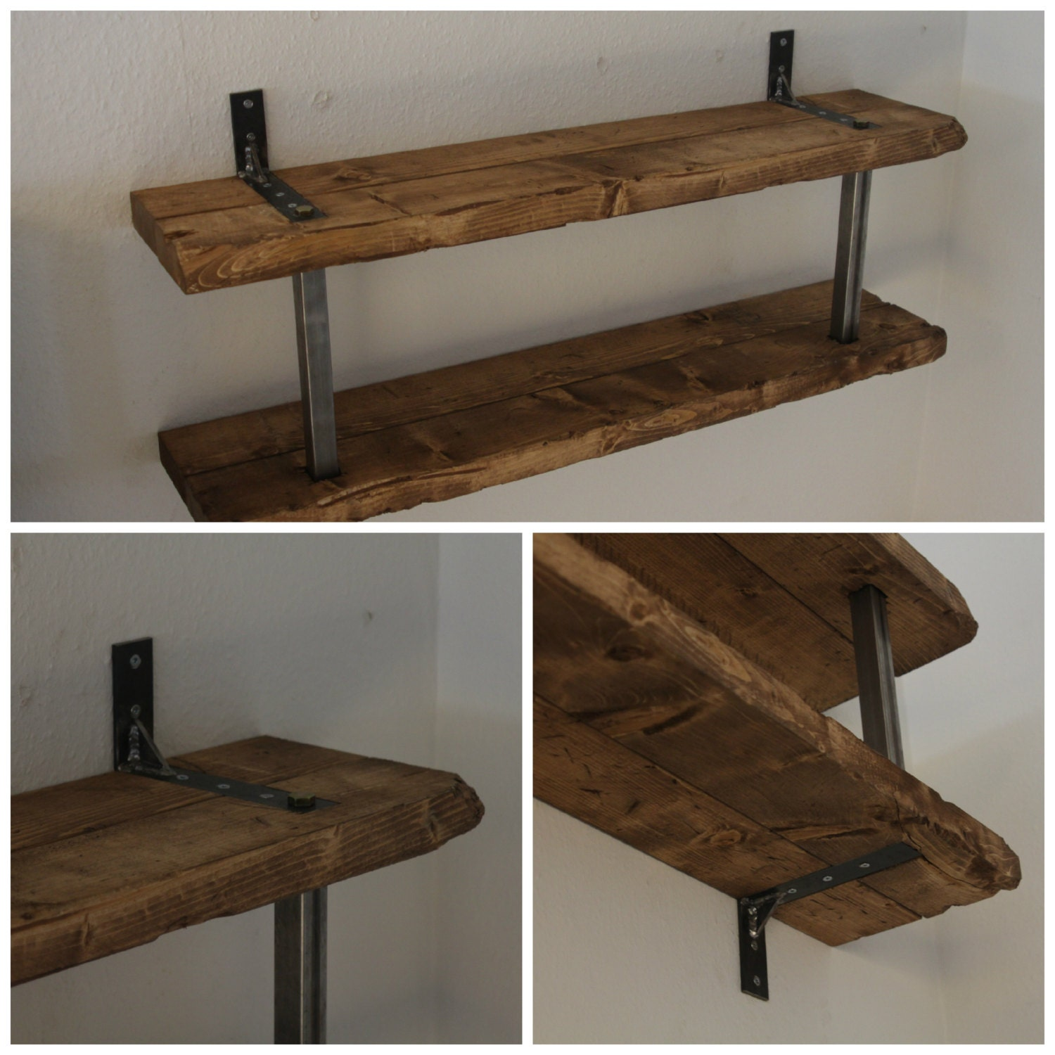 rustic wood shelves with steel brackets by 95northdesigns. Black Bedroom Furniture Sets. Home Design Ideas