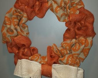 """Pumpkin Burlap Wreath 14"""""""