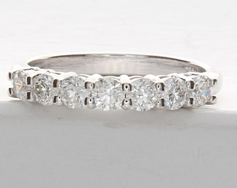 1 Carat Diamond Ring, 7 Stone Diamond Wedding Band, 7 Stone Wedding Ring, 7 Stone Diamond Wedding Band 14k White gold.