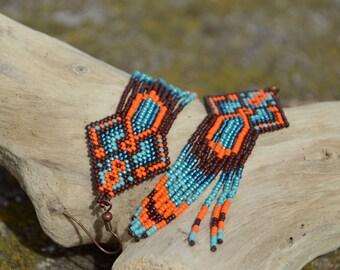 Turquoise and orange beaded earrings - beadwork jewelry - ethnic style - fringe earrings - dangle earrings - Native American style