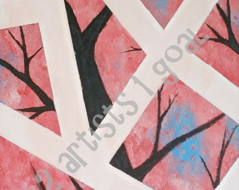11x14 Abstract tree painting (print of the original)