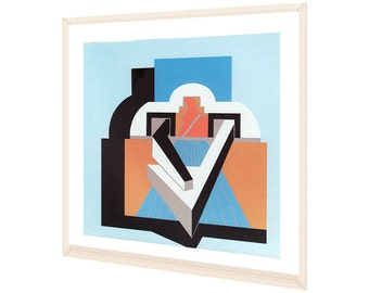 RESERVED / RESERVED. Screen printed original Ursula Stock / engraving / offset / print / geometric / Cubist / Architecture duck / Lyon