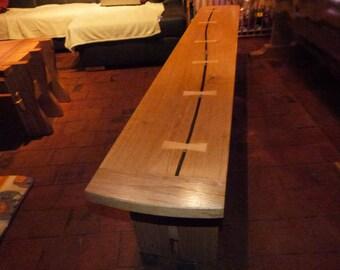 Bench contemporary oak/cherry / Contemporary weavy bench