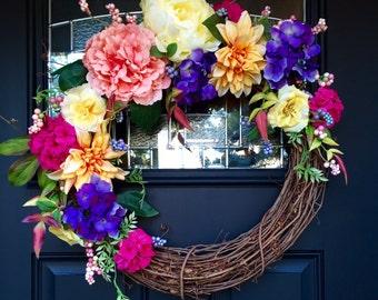 Summer Dahlia Wreath