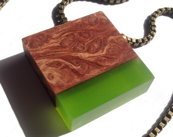 Redwood Burl and Green Ecoresin Pendant with Antique Brass Box Chain