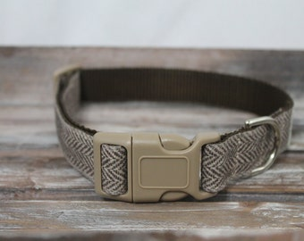 Brown Herringbone Wool Dog Collar