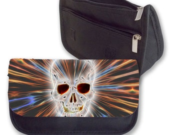 CRAZY CRYSTAL SKULL Pencil case / Clutch or Make up bag. Can be Personalised. Perfect for Back To School.