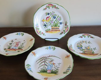 Vintage Jay Willfred - Andrea by Sadek - Made in Portugal - Peint a la main - Set of 4 Green Rimmed Plates