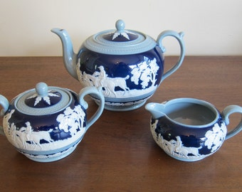 Vintage - Spode Copeland England - Jasperware - Cobalt - Tea Set - Hunting Scene - 5 pieces