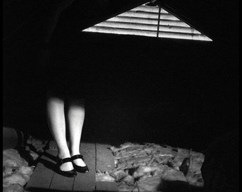 8x10 Black and White Print, Surreal Fine Art Photography, Mary Janes in the Attic