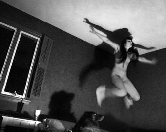 8x10 Black and White Print, Surreal Fine Art Photography, Jumping on the Bed