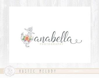 Anchor Logo Design Boutique Logo Floral logo Photography Logo Watermark Romantic Logo Watercolor Logo design