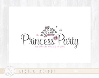 Children Logo Design Party Logo Princess Logo Tiara Logo Kids Logo Boutique Logo