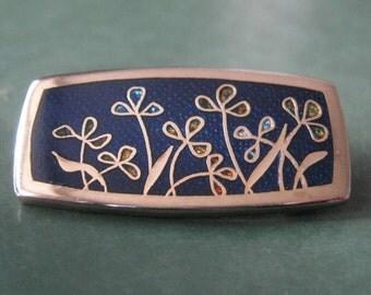 Modernist Enamel Brooch Abstract De Passille Sylvestre Floral Pin Blue Canadian Signed Designer Vintage Quebec Enamel