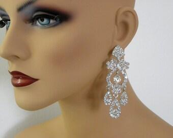 Chandelier Earrings, Bridal Wedding Earrings, Crystal Bridal Jewelry, Vintage Style,Long Bridal Earrings, Swarovski, Danella Bridal Earrings