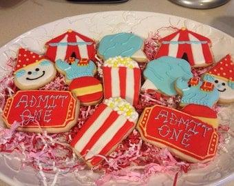 Circus Decorated Sugar Cookies