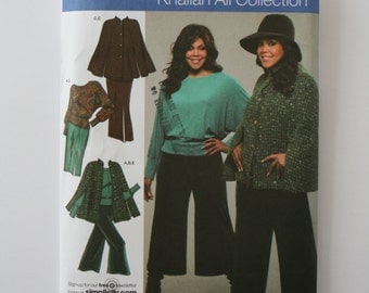 Simplicity 3991 - Kahalian Ali Collection - -Womens Knit Cape and Top,Gauchos and Skirt.