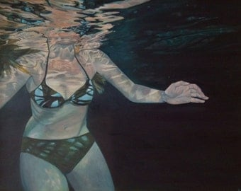 """SALE: Underwater swimmer painting, """"Isopoda,"""" large original oil on canvas, 36"""" x 48"""""""