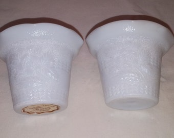 Emkay White Milk Glass Votive Candle Holders