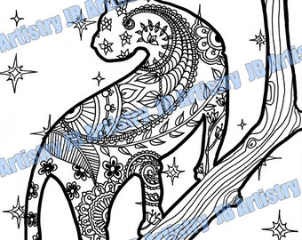 Zentangle Coloring Page - Big Cat