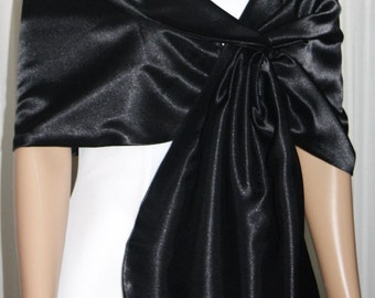 Black  Satin Pull-through Shawl Wrap Scarf Perfect for Bridal Prom Formal New !!