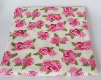 Lovely Pink Rose Cotton Fabric Fat Quarter