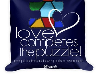 Autism Awareness 'Love Completes the Puzzle' Pillow