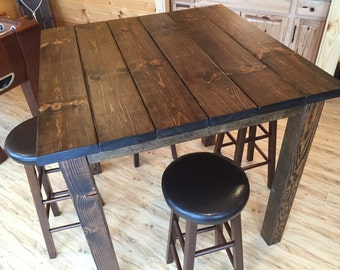 32 Square Rustic Entertainment Bar Table Height High Top