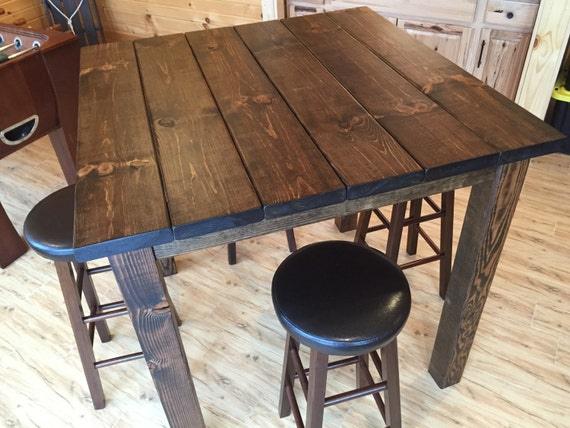 36 Square Rustic Entertainment Bar Table Bar Height