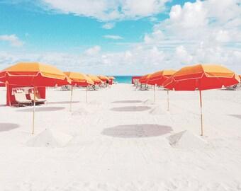 Miami Orange Umbrellas, Miami Beach Print, Beach Umbrellas