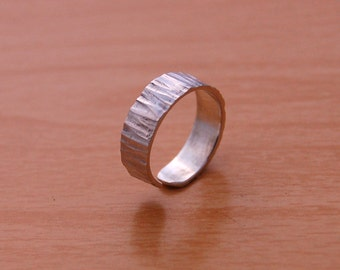 Sterling Silver adjustable ring textured collection of 6MM.