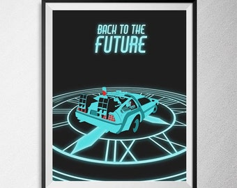 Back to the Future print, Illustration, Minimal film poster, minimalist movie art, custom posters, film and movie print, film art.