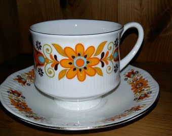 Retro Bone China Tea Cup and Saucer (1970s)