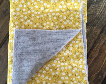 Lemon floral with grey minky Baby Blanket