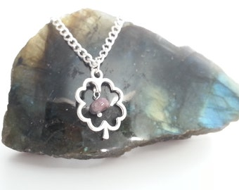 Silver Plated Lucky Four Leaf Clover Tourmaline Necklace