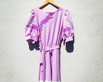 Lavender 80s Dress