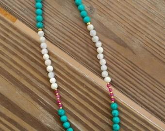 Turquoise/white GP white flower pendant