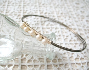 Handcrafted Wire Wrapped Bangle Bracelet Pearl Bracelet