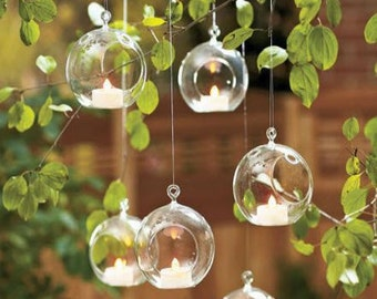 Pack of 6 x 8 CM Hanging Orb Terrariums Air Plant Holders Tealight Candle Holders for Party Candlestick, Decorate Your House, Clothing Shop