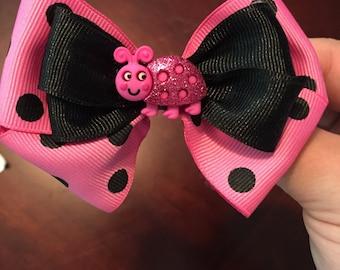 Hot Pink Ladybug Bow
