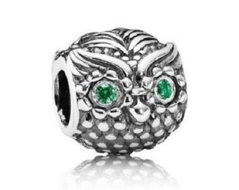 OWL CHARM--  Silver / Green Cz / s925 Owl / THREADED / New / Stamped s925