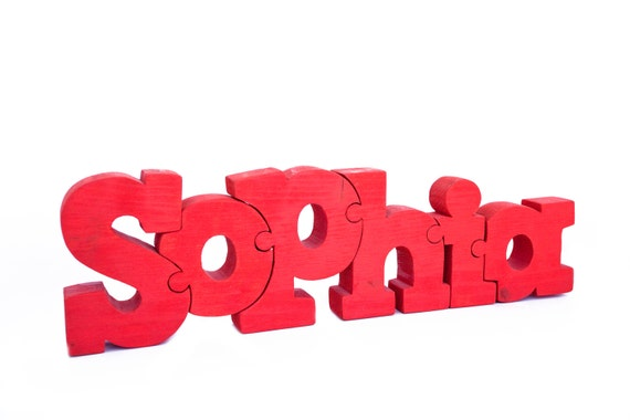Items similar to sophia wooden puzzle sign 15 name 3d for 3d wooden alphabet letters