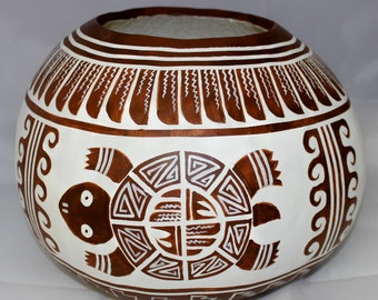 Southwestern Native Style Gourd ~Turtle Spirit Bowl~ Native American Style~ One of a Kind