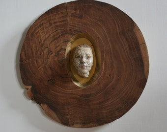 Picture  in frame, portrait in frame, sculpture, beauty in frame, wood, ceramic, handmade, unique, wall object, Saskia de Rooy, Sculptor, 3D