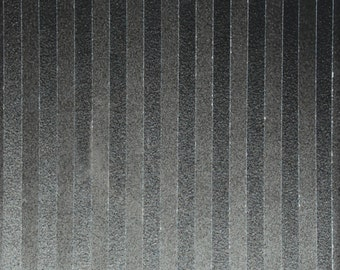 Handmade Black and Gray Vertical Striped Acrylic and Resin Painting on Birch Panel
