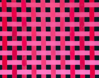 Handmade Acrylic and Resin Pink, Red, and Black Plaid Painting on Birch Panel