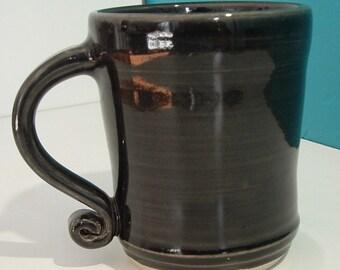 Black Mug with twirly handle, Porcelain, made on potter's wheel, lead free glaze